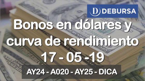 Bonos argentinos en dólares y curva de rendimientos al 17 de mayo 2019
