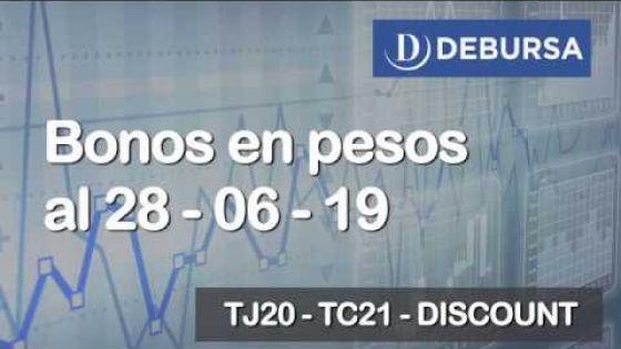 Bonos argentinos en pesos al 28 de junio 2019
