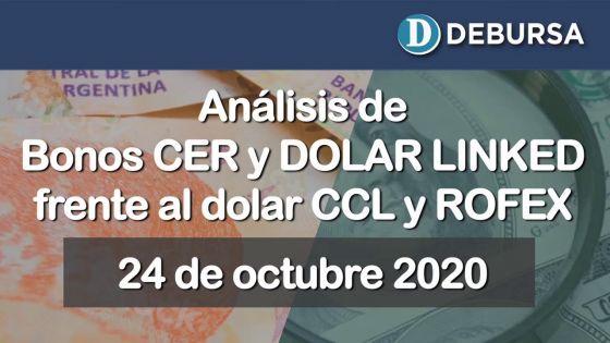 Bonos argentinos ajustador por CER y Dolar-linked frente dolar CCL y el ROFEX al 23 de octubre 2020