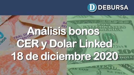 Bonos argentinos en pesos ajustados por CER y DOLAR LINKED al 18 de diciembre 2020