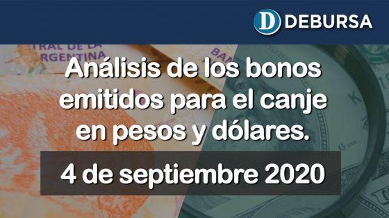 Análisis de los bonos en pesos y dólares emitidos para el canje. 4 de septiembre 2020