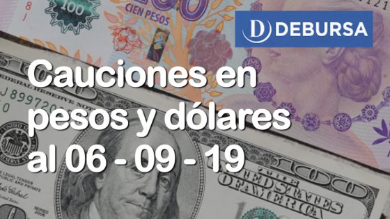 Cauciones bursátiles en pesos y dólares al 6 de septiembre 2019