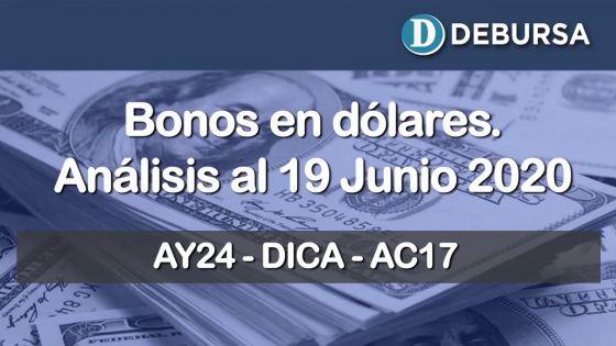 Análisis de bonos argentinos en dólares al 19 de junio 2020.