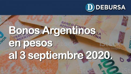 Bonos argentinos en pesos al 3 de septiembre 2020