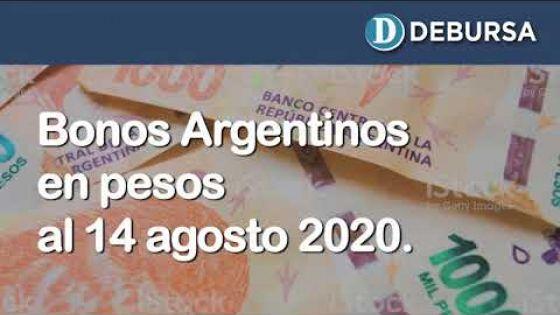 Bonos argentinos en pesos al 14 de agosto 2020