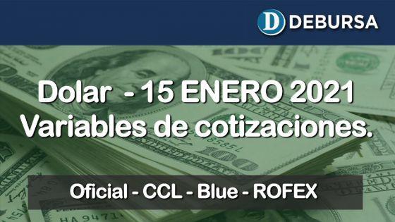 Dólar - Variantes de cotizaciones al 15 de enero 2021