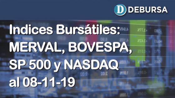 Índices bursatiles de Argentina, Brasil y Estados Unidos al 8 de noviembre 2019