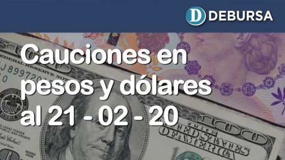Cauciones bursátiles en pesos y dólares al 21 de febrero 2020