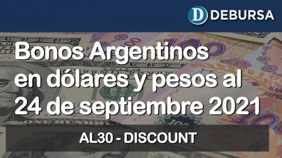 Análisis de los bonos argentinos en dólares y pesos al 24 de Septiembre 2021