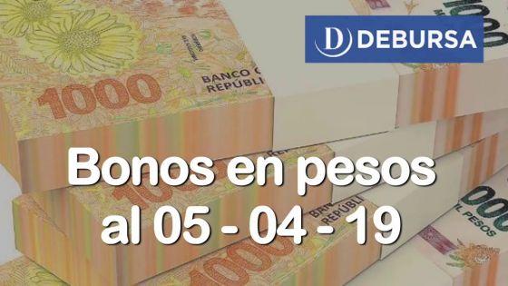 Bonos argentinos en pesos al 5 de abril 2019