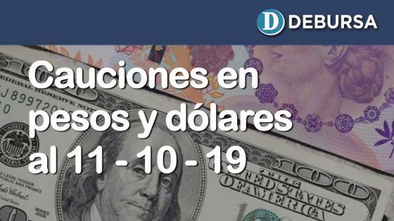 Cauciones bursátiles en pesos y dólares al 11 de octubre 2019