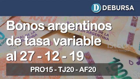 Bonos argentinos de tasa variable al 27 de diciembre 2019
