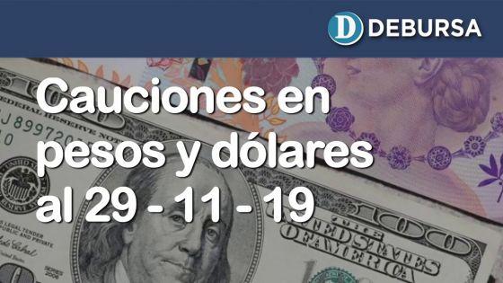 Cauciones bursátiles en pesos y dólares al 29 de noviembre 2019