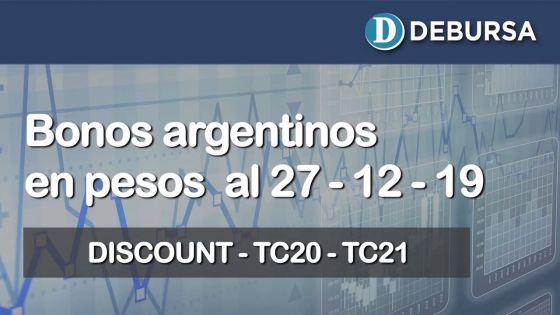 Bonos argentinos emitidos en pesos al 27 de diciembre 2019