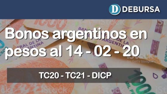 Bonos argentinos en pesos al 14 de febrero 2020.