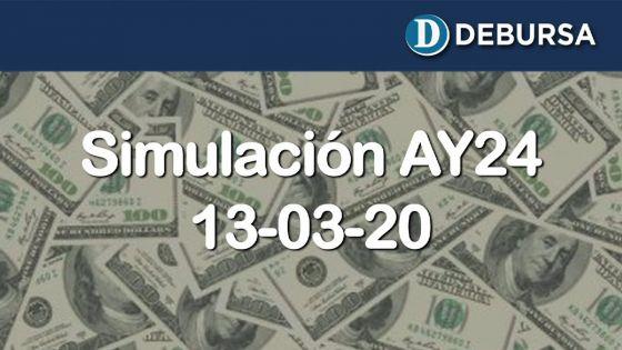 Simulación del Bono Argentino AY24 frente a posible escenario de reestructuración - 13 marzo 2020