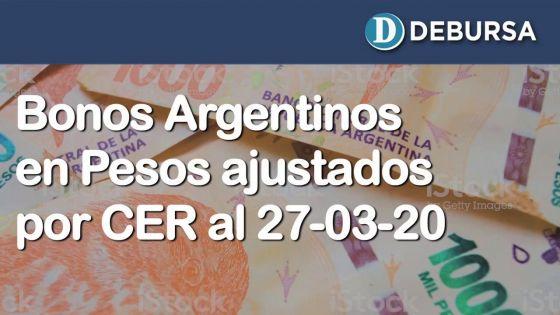 Bonos argentinos en pesos ajustados por CER al 27 de marzo 2020.