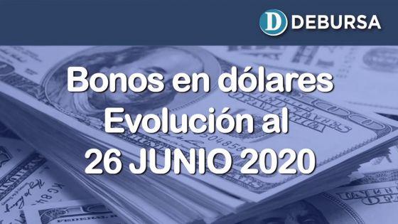 Bonos argentinos en dólares. Evolución al 26 de Junio 2020