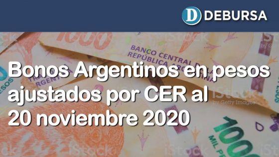 Bonos argentinos en pesos ajustados por CER al 20 de noviembre 2020