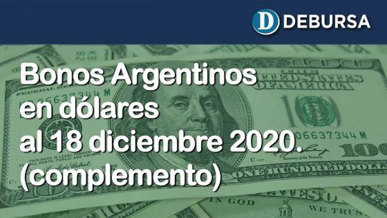 Análisis de los bonos argentinos en dólares al 18 de diciembre 2020 (complemento)