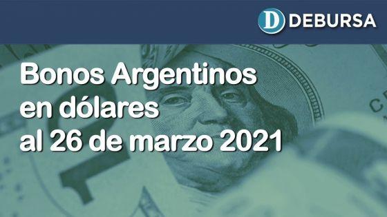 Análisis de los bonos argentinos en dólares al 26 de marzo 2021