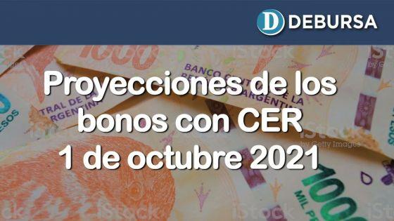 Proyecciones de bonos argentinos en pesos ajustados por CER al 1 de octubre 2021