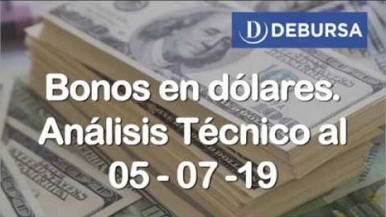 Analisis Técnico de bonos argentinos en dólares al 5 de Julio 2019