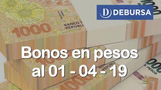 Bonos argentinos en pesos al 1ro de abril 2019