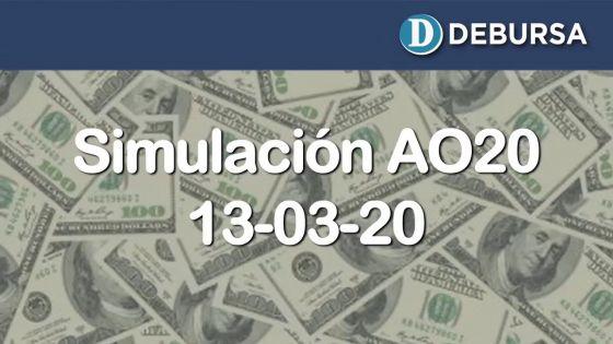 Simulación del Bono Argentino AO20 frente a la inminente reestructuración - 13 marzo 2020