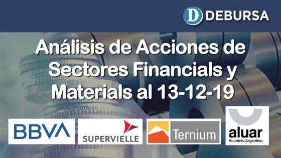 Índice SP MERVAL - Sectores Financial (bancos) y Materials al 13 de diciembre 2019