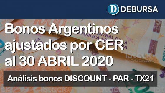 Bonos argentinos en pesos ajustados por CER al 30 de abril 2020