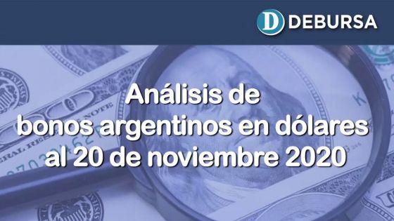 Análisis de los bonos argentinos en dólares al 20 de noviembre 2020