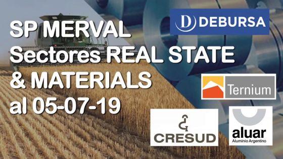 Índice SP MERVAL - Sectores REAL STATE (Agro) y MATERIAL (Industria) al 5 de julio 2019