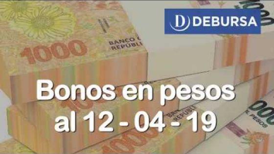 Bonos argentinos en pesos al 12 de abril 2019