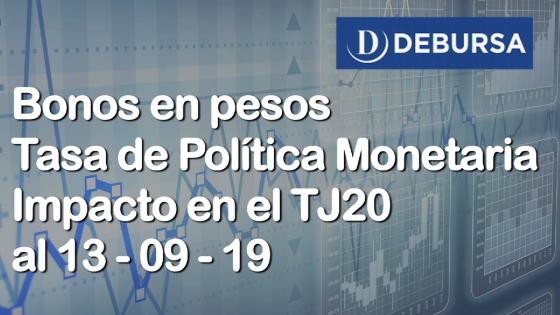 Bonos argentinos en pesos. Tasa de Politica Monetaria e impacto en el TJ20 al 13 de septiembre 2019