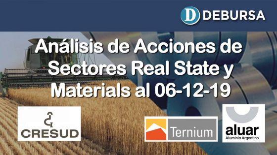 Índice SP MERVAL - Sectores Real State (Agro) y Materials al 6 de diciembre 2019